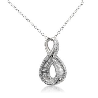 Montebello 14k White Gold 3/4ct TDW Baguette and Round-cut Diamond Infinity Necklace (G-H, VS1-VS2)