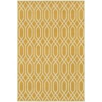 StyleHaven Lattice Gold/Ivory Indoor-Outdoor Area Rug - 3'3 x 5'
