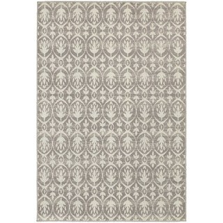 """StyleHaven Distressed Leaves Grey/Ivory Indoor-Outdoor Area Rug (3'3x5') - 3'3"""" x 5'"""