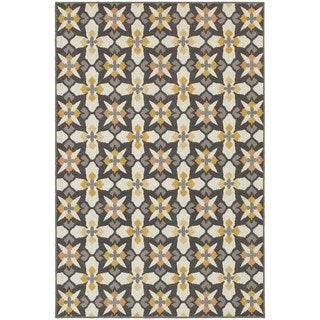 All Over Cross Panel Grey/ Gold Rug (3'3 x 5')