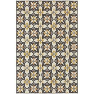 """StyleHaven Panel Grey/Gold Indoor-Outdoor Area Rug (3'3x5') - 3'3"""" x 5'"""
