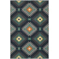 StyleHaven Tribal Navy/Grey Indoor-Outdoor Area Rug (3'3x5') - 3'3 x 5'