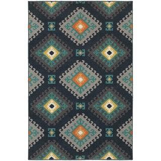 """StyleHaven Tribal Navy/Grey Indoor-Outdoor Area Rug (3'3x5') - 3'3"""" x 5'"""