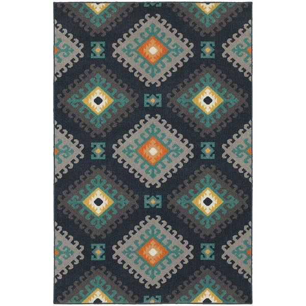 StyleHaven Tribal Navy/Grey Indoor-Outdoor Area Rug - 3'3 x 5'