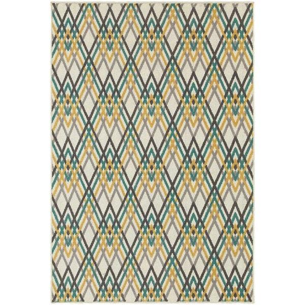 """StyleHaven Chevron Ivory/Grey Indoor-Outdoor Area Rug (3'3x5') - 3'3"""" x 5'"""