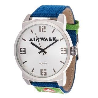 Airwalk Analog Silver Dial and Blue Canvas Watch