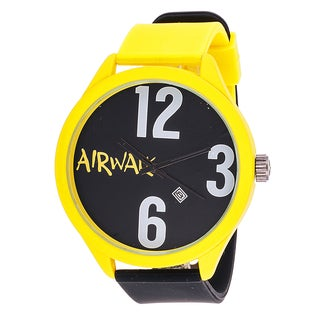 Airwalk Analog Yellow Case Black Silicone Watch