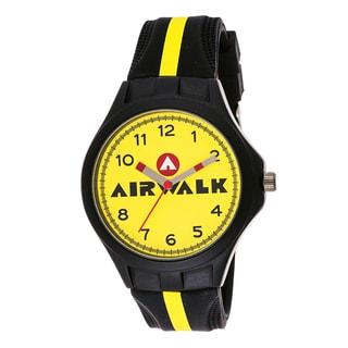 Airwalk Analog Yellow Dial Black Silicone Watch