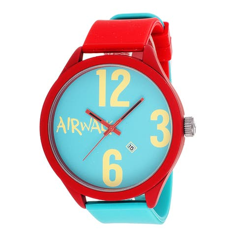 Airwalk Turquoise Dial Red Silicone Strap Watch