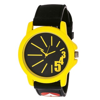 Airwalk Unisex 'AWW-5083-YE Funky Number' Yellow Dial Black Silicone Strap Analog Watch