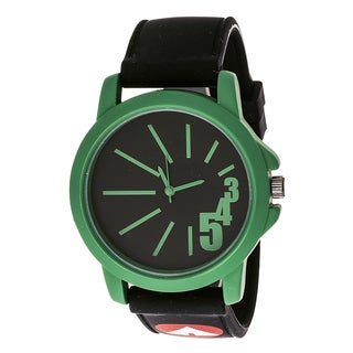 Airwalk Unisex ' Funky Number' Green Dial Black Silicone Strap Analog Watch