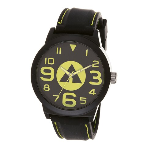 Airwalk '' Yellow Logo Dial Black Silicone Strap Analog Watch