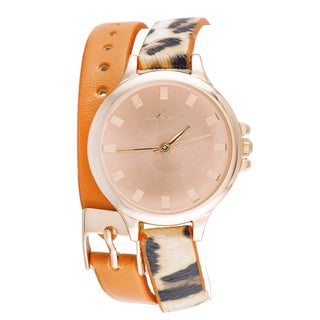 Via Nova Women's Rose and Leopard Orange Watch