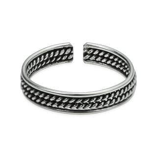 Double Twist Rope Balinese .925 Silver Toe or Pinky Ring (Thailand)