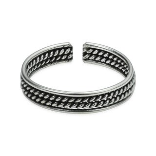 Handmade Double Twist Rope Balinese .925 Silver Toe or Pinky Ring (Thailand)