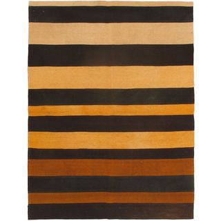 Bohemian Black Wool Abstract Kilim (4'11 x 6'7)