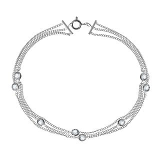 Triple Curb Chain Round Cubic Zirconia .925 Silver Bracelet (Thailand)