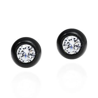 Black Frame White CZ Center 925 Silver Post Earrings (Thailand)