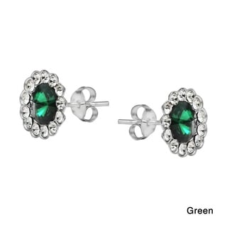 Floral Sparkle Round Crystal .925 Silver Stud Earrings (Thailand)