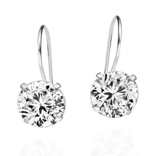Handmade 10mm Round Cubic Zirconia .925 Silver Hook Earrings (Thailand)