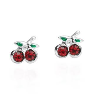 Handmade Charming Cubic Zirconia Cherry .925 Silver Stud Earrings (Thailand)