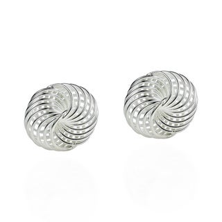 Classic Shiny Weave Knot Sterling Silver Post Earrings (Thailand)
