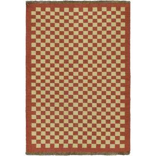 Kashkoli Kilim Beige Wool Open Field Kilim (4'7 x 6'7)