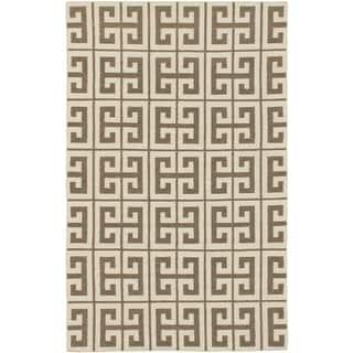 Kerala Cream/ Khaki Wool Open Field Kilim (5'0 x 8'0)