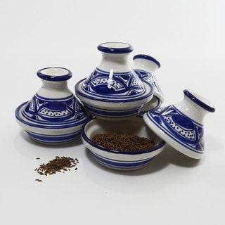 Handmade Le Souk Ceramique Set of 4 Qamara Design Mini Tagines (Tunisia)