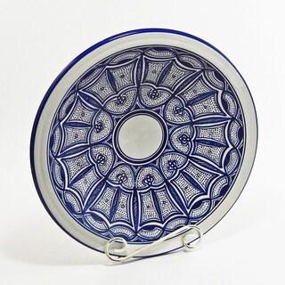 Handmade Le Souk Ceramique Qamara Design Medium Serving Bowl (Tunisia)