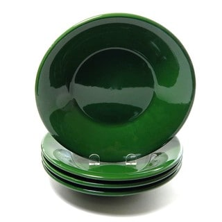 Le Souk Ceramique Set of 4 Solid Green Design Pasta/ Salad Bowls (Tunisia)