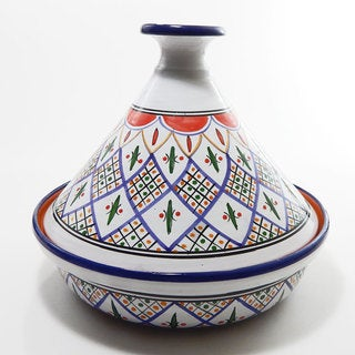 Le Souk Ceramique 12-inch Tabarka Design Cookable Tagine (Tunisia)