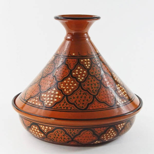 Handmade Le Souk Ceramique 12 Inch Honey Design Cookable Tagine Tunisia
