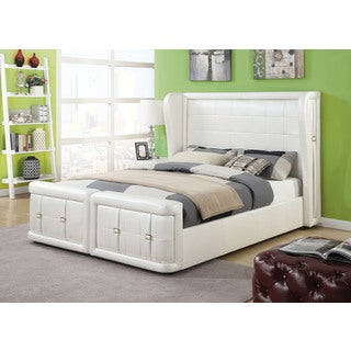 Linus Pearl White Queen Bed