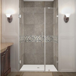 Aston Nautis 42-in x 72-in Completely Frameless Hinged Shower Door in Chrome