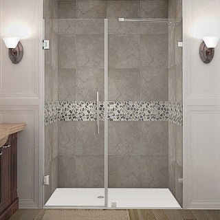 Aston Nautis 52-in x 72-in Completely Frameless Hinged Shower Door in Chrome (3 options available)