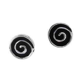 Handmade Hypnotic Swirls Enamel Swirl .925 Silver Stud Earrings
