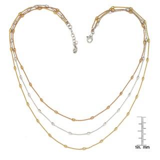 La Preciosa Sterling Silver Tri-Color Three-Strand D-C Oval Beads Necklace