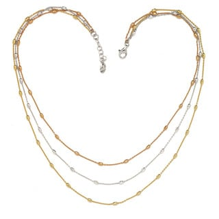 La Preciosa Sterling Silver Tri-Color Three-Strand D-C Oval Beads Necklace