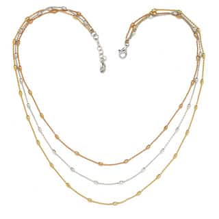 La Preciosa Sterling Silver Tri-Color Three-Strand D-C Oval Beads Necklace|https://ak1.ostkcdn.com/images/products/9933637/P17089398.jpg?impolicy=medium