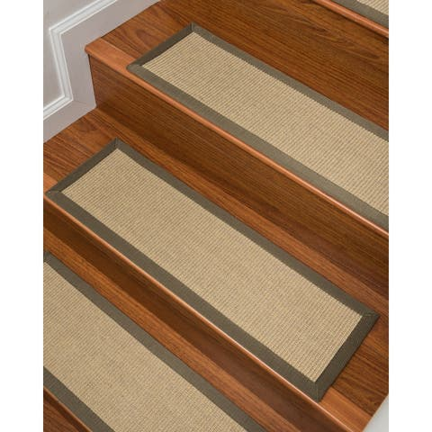 "Natural Area Rugs 100% Natural Fiber Kinsley, Sisal Lime, Handmade Stair Treads Carpet Set of 13 (9""x29"") Olive Border"