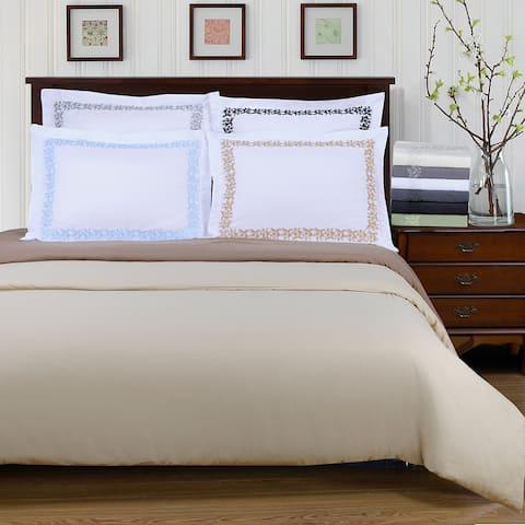 Superior Wrinkle Resistant Embroidered Microfiber 3-piece Duvet Cover Set
