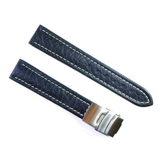 Banda Wyoming Buffalo Leather Navy Blue Watch Strap