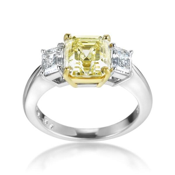 SummerRose 18k White Gold and Platinum Yellow and White Diamond 3.55ct TDW Ring