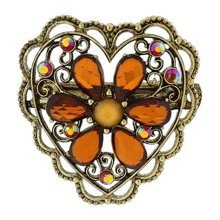 1928 Antiqued Goldtone Smoky Topaz Flower/ Filigree Heart Hair Barrette