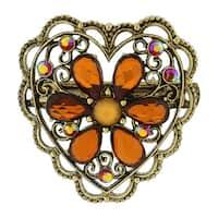 1928 Jewelry Antiqued Goldtone Smoky Topaz Flower/ Filigree Heart Hair Barrette