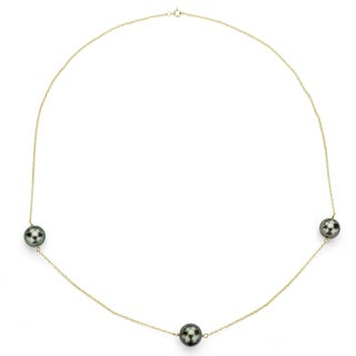 DaVonna 14k Gold Black Tahitian Pearl Tin Cup Necklace (8-11 mm)