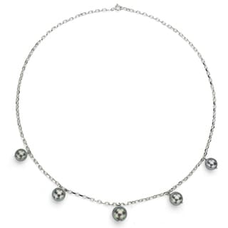 DaVonna Sterling Silver Black Tahitian Pearl Tin Cup Necklace (8-11 mm)