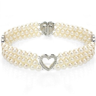 DaVonna 14k White Gold Heart-shape Divider White Freshwater Cultured Pearl Illusion 3-row Bracelet (4-5mm)