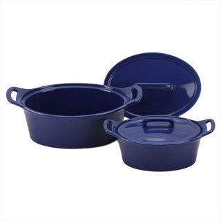 OmniWare Cobalt Blue Oval Casserole Dish with Lid (Set of 2)